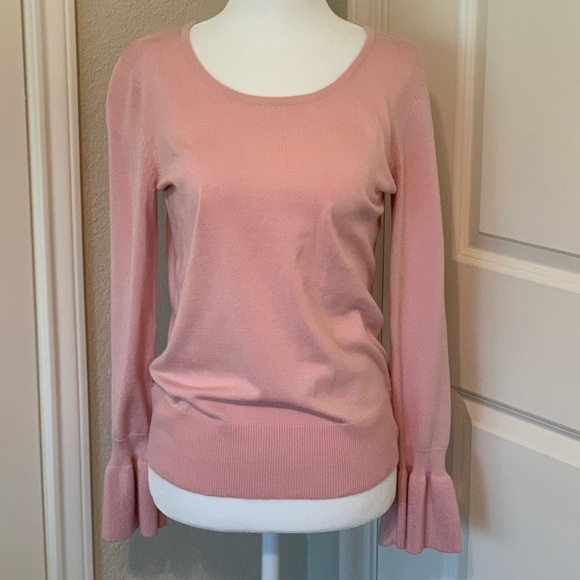 Cable & Gauge Sweaters - Blush Ruffle Sleeve Sweater Blouse
